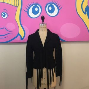 Moschino black wool ribbon fitted blazer Jacket